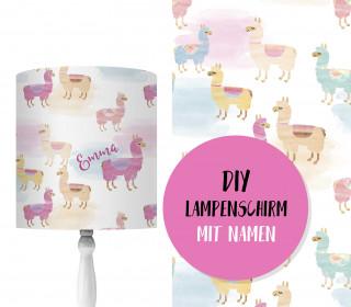 DIY Lampenschirm - Alpakas - Watercolor - Set - personalisierbar - zum Selbermachen