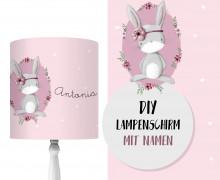 DIY Lampenschirm - Boho Hase Leni - Stickherz - Set - personalisierbar - zum Selbermachen