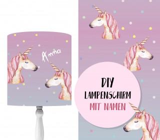 DIY Lampenschirm - Einhorn Aquarell - Set - personalisierbar - zum Selbermachen