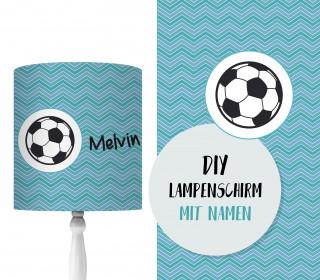DIY Lampenschirm - Fußball - Blau - Set - personalisierbar - zum Selbermachen