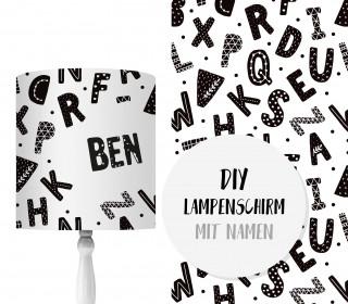 DIY Lampenschirm - ABC - Alphabet - Set - personalisierbar - zum Selbermachen