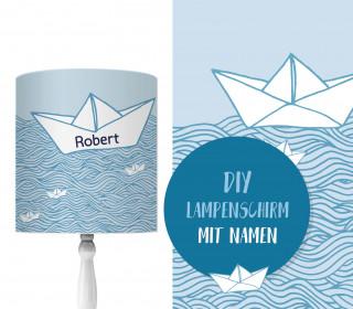 DIY Lampenschirm - Wildes Meer - Papierschiff - blau - Set - personalisierbar - zum Selbermachen