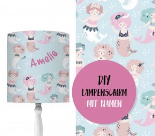 DIY Lampenschirm - Mystical Mermaids - Blau - Set - personalisierbar - zum Selbermachen