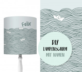 DIY Lampenschirm - Wildes Meer - Papierschiff - Set - personalisierbar - zum Selbermachen