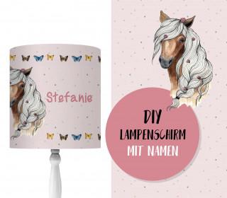 DIY Lampenschirm - Horse And Butterflies - personalisierbar - zum Selbermachen