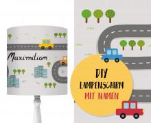 DIY Lampenschirm - On The Road - Autos - Set - personalisierbar - zum Selbermachen