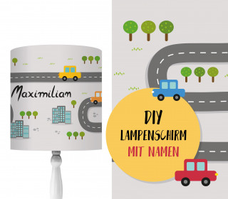 DIY Lampenschirm – On The Road – Autos – Set – personalisierbar – zum Selbermachen