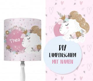 DIY Lampenschirm - Unicorn Flowers - Set - personalisierbar - zum Selbermachen