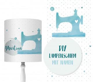 DIY Lampenschirm - Nähmaschine - Watercolor - Set - personalisierbar - zum Selbermachen