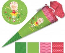 DIY-Nähset Schultüte - Nikiko - Girls 'n' Roses - Grün - zum selber Nähen
