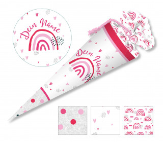 DIY-Nähset Schultüte - Regenbogen Liebe - Pink/Rosa - zum selber Nähen