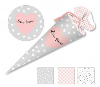 DIY-Nähset Schultüte - Herzen - grau - zum selber Nähen