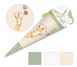 DIY-Nähset Schultüte - Lovely Fox - Grün - zum selber Nähen