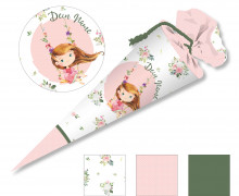 DIY-Nähset Schultüte - Princess Pink - Blumen - zum selber Nähen