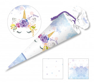 DIY-Nähset Schultüte - Little Unicorn - Aquarell - zum selber Nähen