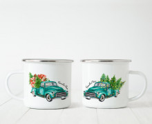 Emaille Becher - Christmas Truck