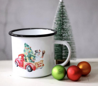 Emaille Becher - Christmas Car - Schneemann