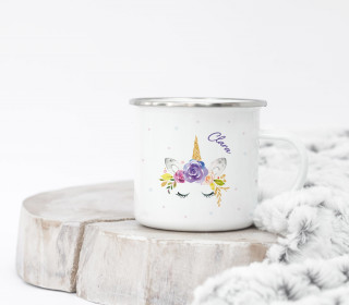 Emaille Becher - Little Unicorn - Aquarell