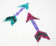 Dein Wunschgeschenk - 1 Aufnäher - Pfeil - Wendepailletten - pink/türkis