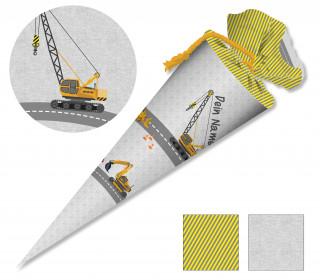 DIY-Nähset Schultüte - Bagger Grau - zum selber Nähen