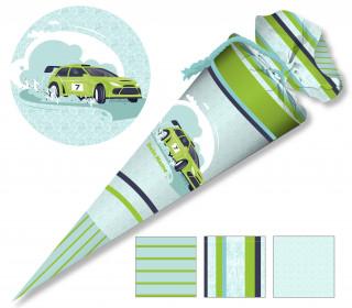 DIY-Nähset Schultüte - Rennwagen - Grün - zum selber Nähen