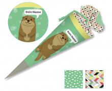 DIY-Nähset Schultüte – Otter – Käselotti – mit 3D Applikation – zum selber Nähen