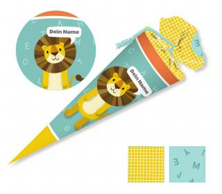 DIY-Nähset Schultüte – Löwe – Käselotti – mit 3D Applikation – zum selber Nähen
