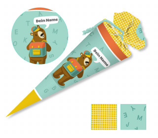 DIY-Nähset Schultüte – Bär – Käselotti – mit 3D Applikation – zum selber Nähen