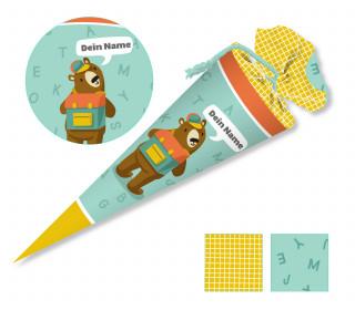 DIY-Nähset Schultüte – Bär – Käselotti – zum selber Nähen