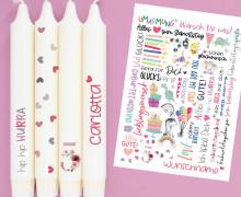 DIN A4 - Tattoofolie - Geburtstag - Rosa - für Kerzen / Keramik