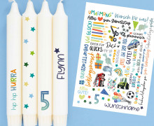DIN A4 - Tattoofolie - Geburtstag - Blau - für Kerzen / Keramik