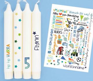 A4 Bogen  - Kerzen-Tattoofolie - Geburtstag - Blau