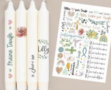 DIN A4 - Tattoofolie - Taufe - Schlicht - für Kerzen / Keramik