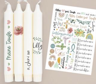 A4 Bogen - Kerzen-Tattoofolie - Taufe - Schlicht