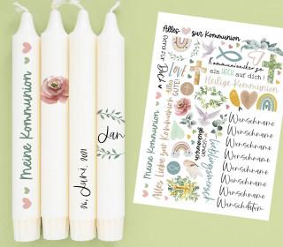 A4 Bogen - Kerzen-Tattoofolie - Kommunion