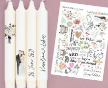 DIN A4 - Tattoofolie - Hochzeit - für Kerzen / Keramik