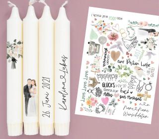 A4 Bogen  - Kerzen-Tattoofolie - Hochzeit