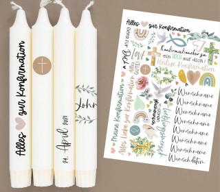 A4 Bogen - Kerzen-Tattoofolie - Konfirmation