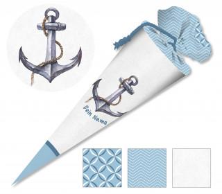 DIY-Nähset Schultüte – Maritimer Anker – hellblau – zum selber Nähen