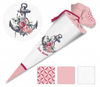DIY-Nähset Schultüte – Maritimer Anker – rosa – zum selber Nähen