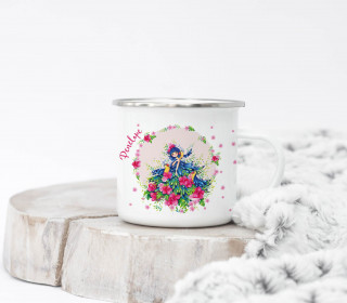 Emaille Becher – Papageien Mädchen – Wildblume Illustration