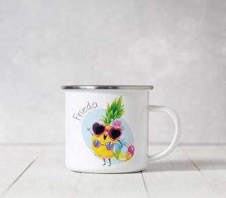 Emaille Becher – Crazy Ananas – Wildblume Illustration
