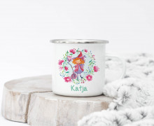 Emaille Becher – kleine Hexe – Wildblume Illustration