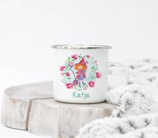 Emaille Becher - kleine Hexe - Wildblume Illustration