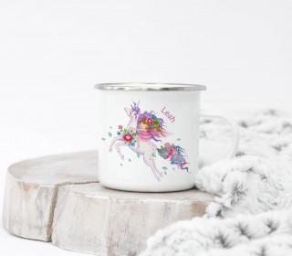 Emaille Becher – Little Dreamer – Wildblume Illustration