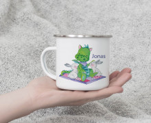 Emaille Becher - Kleiner Drache - Wildblume Illustration