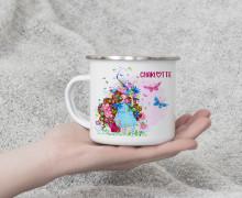 Emaille Becher - Blumenhexe - Wildblume Illustration