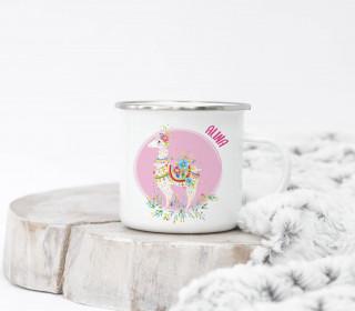 Emaille Becher – Boho Lama – Wildblume Illustration