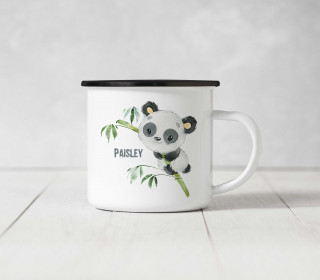 Emaille Becher - Panda Paisley