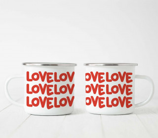 Emaille Becher - Love Love Love
